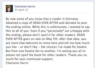 Charlaine Harris Facebook response to German spoiler